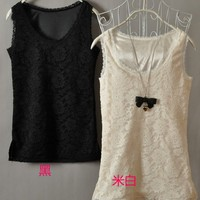 Women All Matched Full Exquisite Lace Black and Ivory Vest One Size@II1004bi $10.53 only in eFexcity.com.