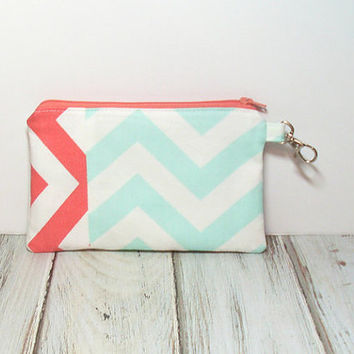 Mint and Coral Cell Phone Clutch, Chevron Zipper Bag