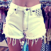 EXTREME SALE Upcycled White Studded Denim Shorts