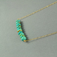 Turquoise Beads Necklace, 14K Gold Filled Chain, Beautiful Stone Necklace