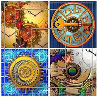 Steampunk Inchie Squares Digital Collage Sheet  by barbosaart on Zibbet