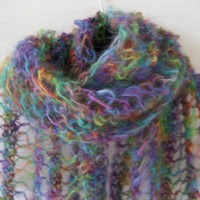 Mohair scarf , Lace knit  scarf , Colorful silky scarf , Knit wool scarf