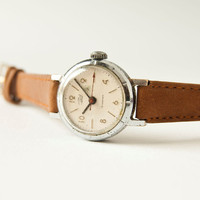 Mechanical wristwatch Zarja, ladies watch, silver, sandy colors, USSR
