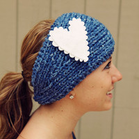 Knitted Headband Blue Wash Headband Knitted Headband With Felt Heart