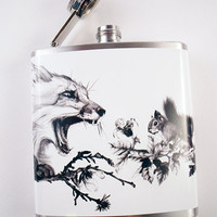 6oz Printed Flask with Fox and Squirrel Print