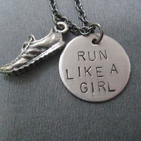 RUN LIKE A GIRL Round Pendant with Running Shoe - Running Necklace - Running Jewelry - Hand stamped 18 inch gunmetal chain