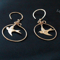 Gold Ear Rings Hanging Bird Charm Dangle Metal Jewelry Handmade Contemporary Luxe Style