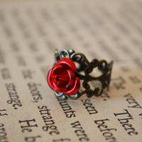 Fairy Tale Rose Ring - Red Rose