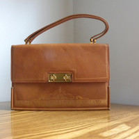 Vintage Tan purse accordian style
