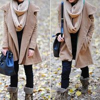 Camel Hoodie Wool cape winter coat
