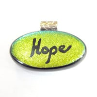 Hope Pendant, Dichroic Pendant, Necklace, Fused Glass Jewelry - Hope - 933