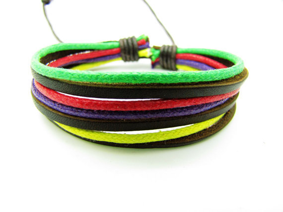 Real 3PCS Leathers Cotton Ropes Woven Cuff Bracelet , Women Leather Bracelet, Ropes Bracelet 1230A