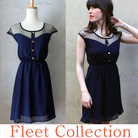 Petit Dejeuner in Navy Blue - Black Lace Illusion Neckline Vintage Inspired Chiffon Dress with Gold Buttons XS S M L XL