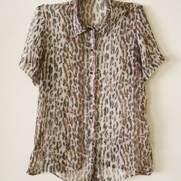 Vintage 90s Cheetah Sheer Short Sleeve Womens Blouse size S/M from R+E