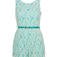 Mint Playsuit With Cream Lace Overlay - Clothing - desireclothing.co.uk