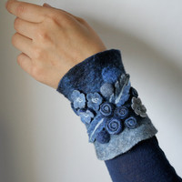 Cobalt Meadow  Felt Bangle / Wrist Cuff  Hand felted by vaivanat
