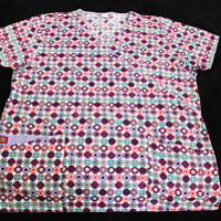 DICKIES SCRUB TOP size (L) 3 POCKET PURPLE BLUE FLOWER SNOW PATTERNS MEDICAL