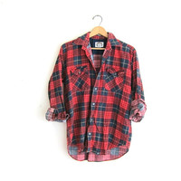 Vintage red distressed plaid cotton flannel / thinned cotton button up shirt / men's size S