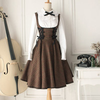 Two Set Suit Vintage Wool Chest Supporting Styles Fashion Lolita Dress