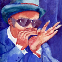 Music Art Blues Harp Player 8x10 Watercolor Print