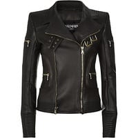 Balmain Ribbed Leather Biker Jacket