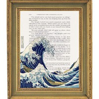 Great Waves Of Kanagawa Print Book Page  by papergangsterprints
