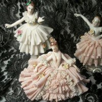 Three PreWar Dresden Porcelain Figures of Women Dancing Standing and Sitting by TKSPRINGTHINGS