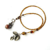 Beaded bookmark, book thong, nature, leaves