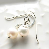Pearl earrings sterling silver freshwater pearl bridal wedding gift for bridesmaids special occasion