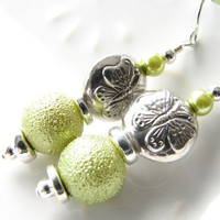 Green butterfly dangle earrings light green sterling silver