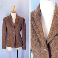 Vintage 1980s Jacket / Ralph Lauren Soft Tweed Riding Jacket / s-m