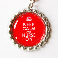 Nurse charm, Nurse Zipper charm, backpack zipper pull, zipper pull, purse charm, bottle cap, Gift for Nurse, Keep Calm Nurse On, Red