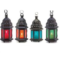 Set of 4 Assorted Colorful Moroccan Style Candle Lanterns - Garden Patio Decor - Lanterns, Strings