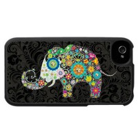 Retro Flowers & Diamond Elephant iPhone 4 Cover from Zazzle