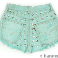 Hanmattan &quot;HEAVY METAL&quot; vintage high waisted studded denim cutoff shorts turqoise blue pastel green mint