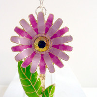 Pink Flower Bookmark, Pink Green Gold Daisy Flower Bookmark, Back to School