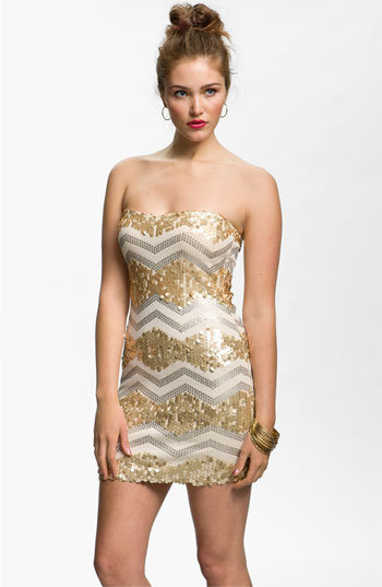 As U Wish Zigzag Sequin Strapless Dress (Juniors) | Nordstrom