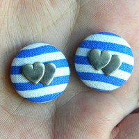 Button Earrings Nautical Blue- White Stripes Antique Silver Plated Hearts Shabby Chic