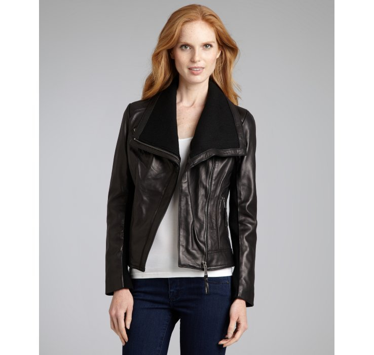 Wyatt black leather asymmetrical zip knit trim jacket | BLUEFLY up to 70 off designer brands