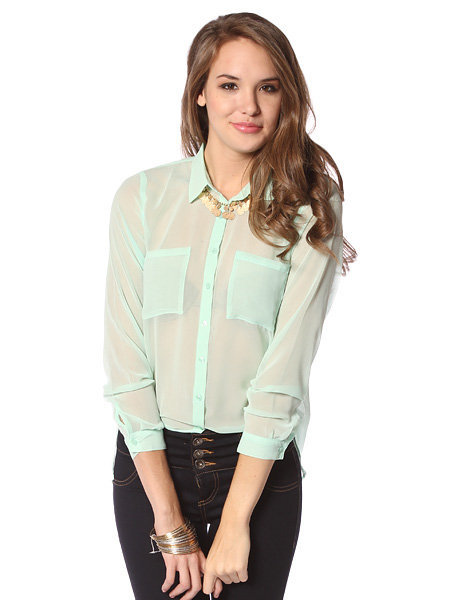 Papaya Clothing Online :: TWO POCKETS BUTTON DOWN BLOUSE