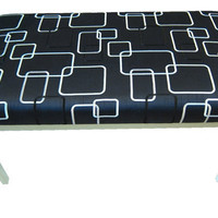 Upholstered Black and White Contemporary Bedroom Bench