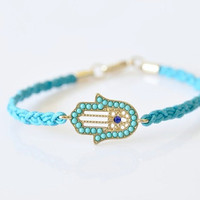 Hamsa Hand Braided Bracelet - Sky Blue