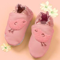 The Land of Nod: Baby Booties, Socks & Hats: Baby Pink Leather Slip-on Bird Booties in All Clothing