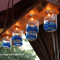 Rustic Hanging Chandelier, Mason Jar Hanger, Candle Holder, Wedding Lighting, Original Versatile Design