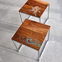 Inlaid Walnut End Table by StudioLiscious on Etsy