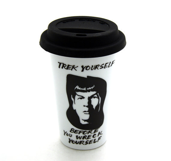 Star Trek (R) Inspired Travel Mug Featuring Mr Spock