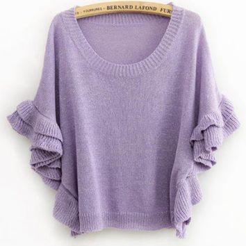 Purple Round Neck Hedge Sweater$42.00