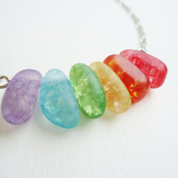 Rainbow Glass Jelly Bean Necklace