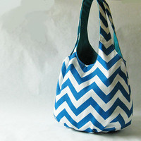 Tote bag - turquoise blue chevron stripes
