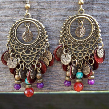 Gypsy Sunset Chandelier Beaded Dangle Earrings